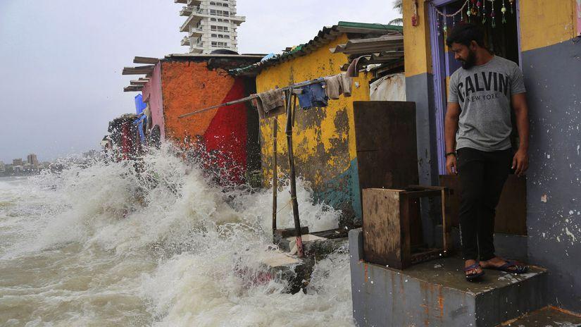 India, záplava, monzún, voda, chatrč,...