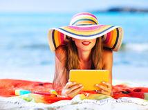 leto, telo, úsmev, pláž, klobúk, slnko