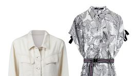 Šaty z dielne značky Karl Lagerfeld, info o cene v predaji. Denimová bundička Mango, info o cene v predaji.