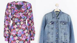 Šaty z dielne značky Pinko, info o cene v predaji. Denimová bundička Lindex, predáva sa za 39,99 eura.