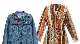 Šaty z dielne značky Reserved za 39,99 eura, denimová bundička H&M za 27,99 eura.