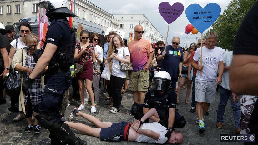 poľsko, pochod, LGBT, Bialystok, polícia,...