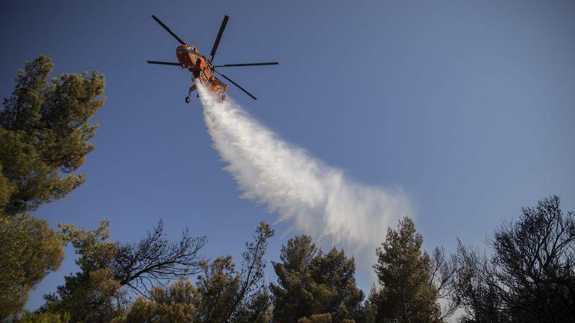 grécko, požiar, helikoptéra, vrtuľník, požiar,...