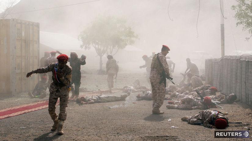 jemen, útok, vojaci, dym, výbuch, raketa