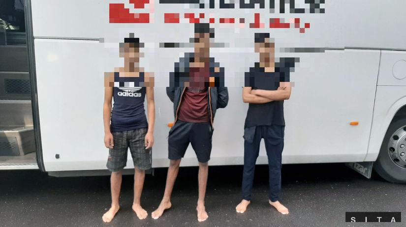 polícia SR / migranti / Krupina / autobus /...