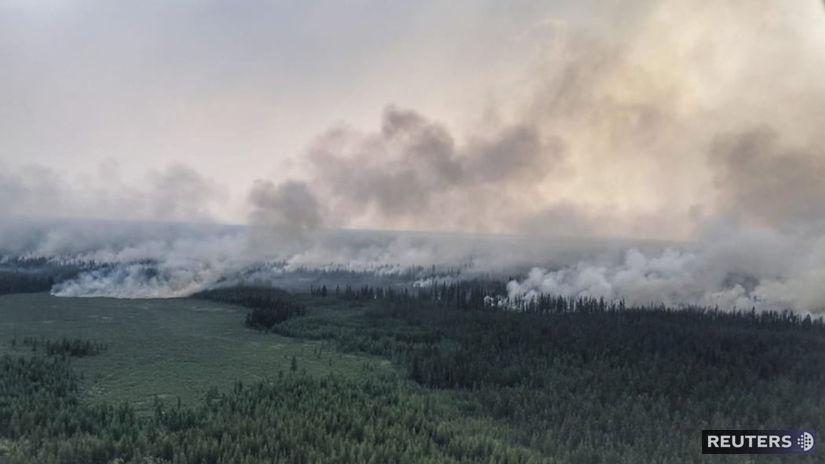 rusko, dym, les, požiar