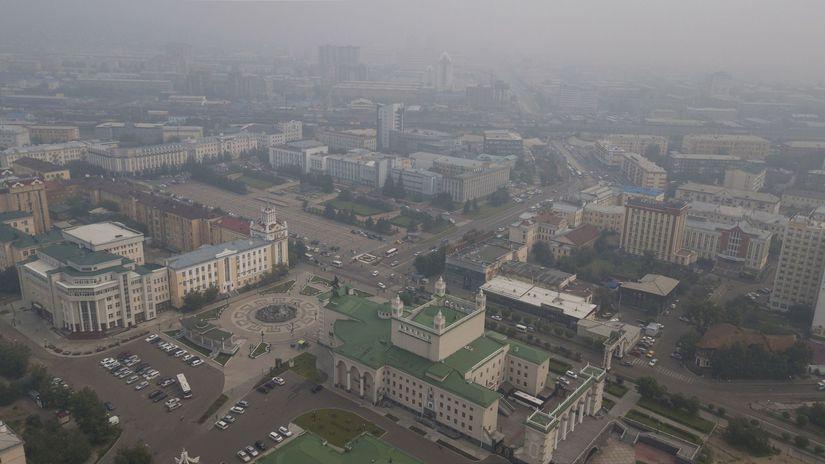Rusko Sibír lesné požiare dym smog mongolsko