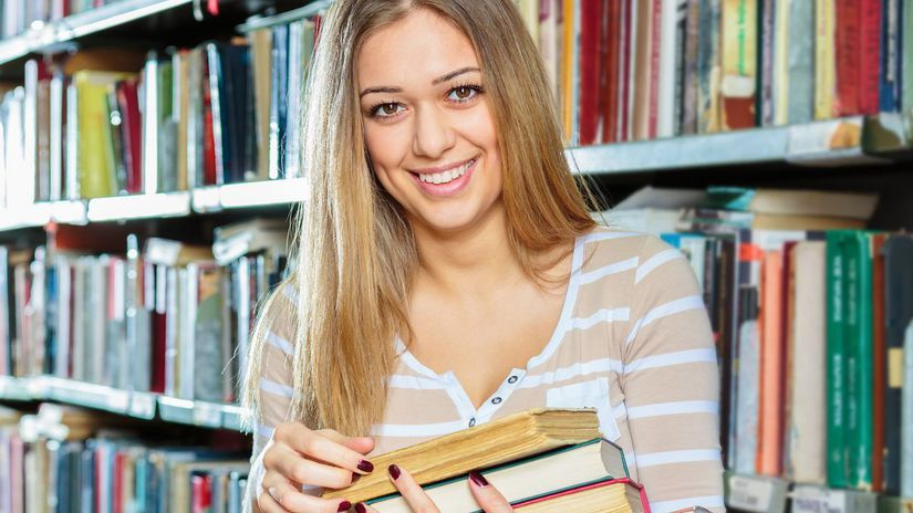 škola, knižnica, knihy, študent, študentka,...