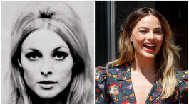 Herečku Sharon Tateovú (vľavo) vo filme Vtedy v Hollywoode stvárnila austrálska hviezda Margot Robbie.