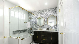 Kúpeľna v dome, ktorý si kedysi prenajímala Meghan Markle s prvým manželom.