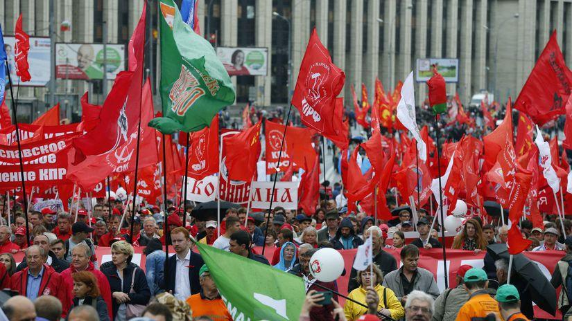 Rusko Protest komunisti vlajky