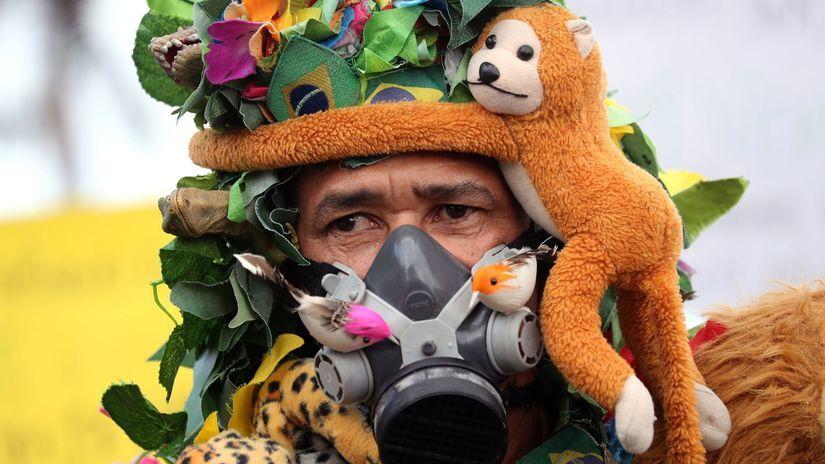 brazília, demonštrant, opica, prales. protest
