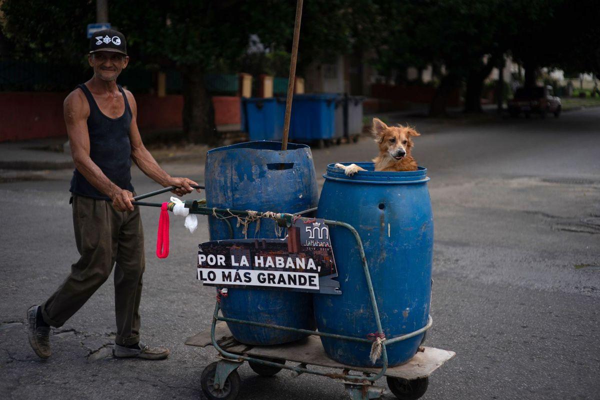 Kuba. zametač, sudy, pes, Havana