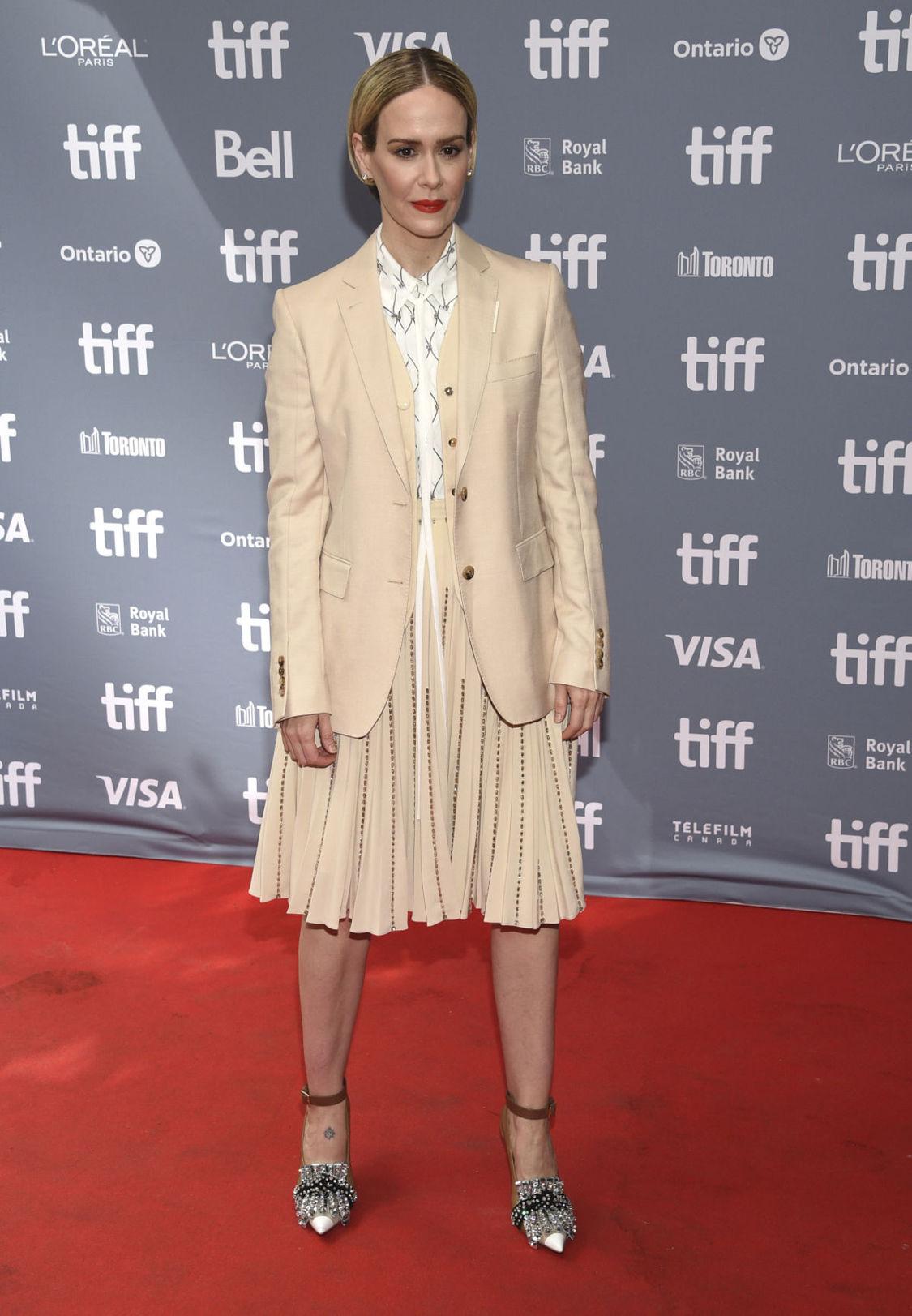 Herečka Sarah Paulson na tlačovke k filmu...