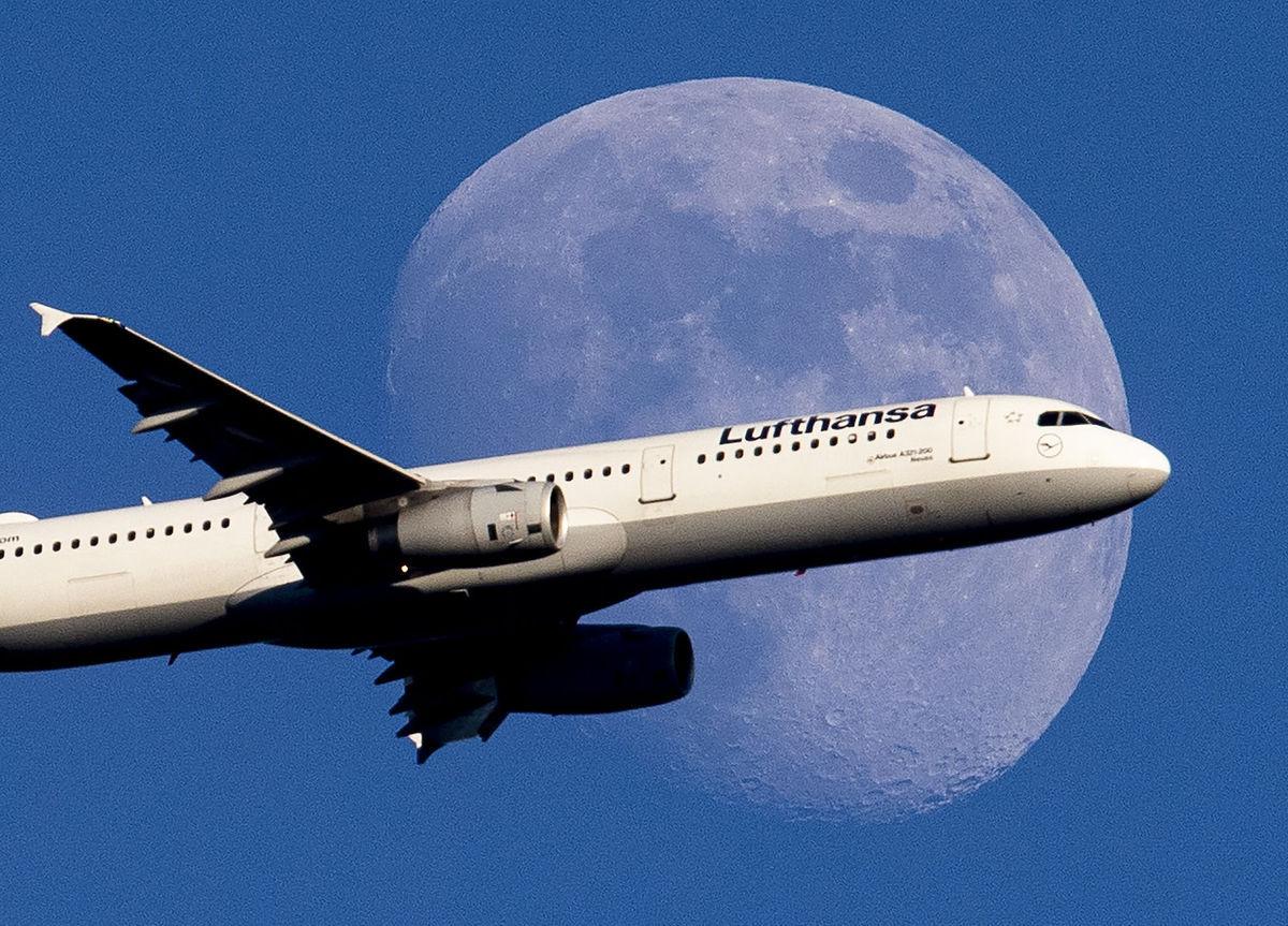 lietadlo, Lufthansa, Mesiac, letisko, cestovanie, letisko, Nemecko