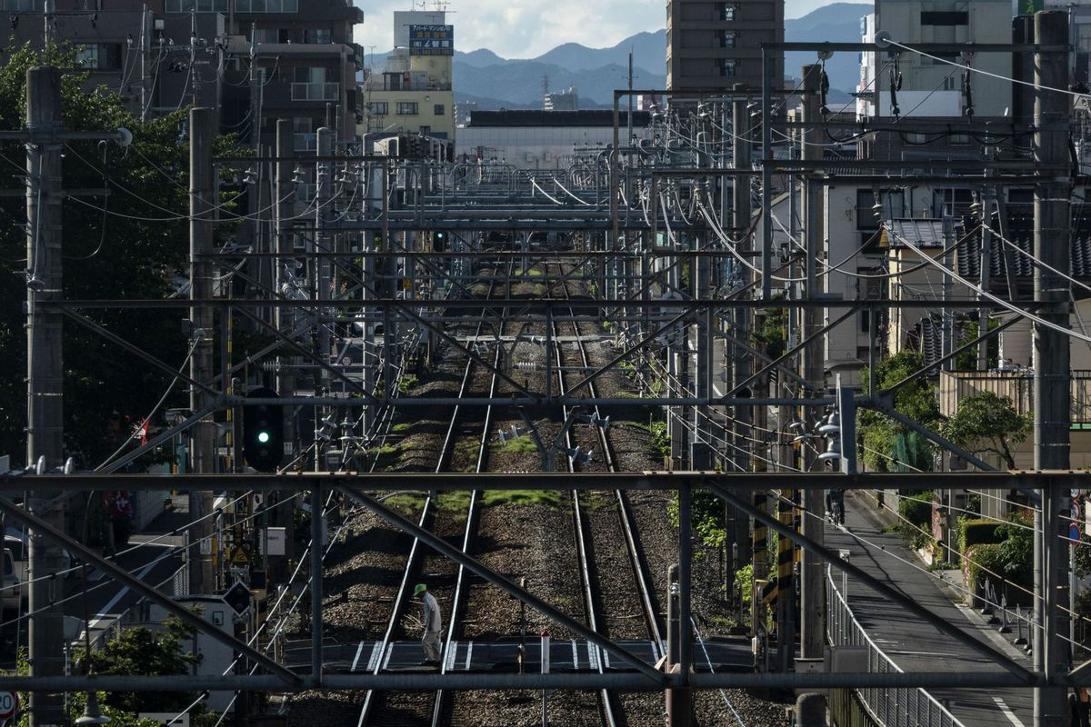 Japonsko, vlak, koľajnice, Fussa, doprava, železnice