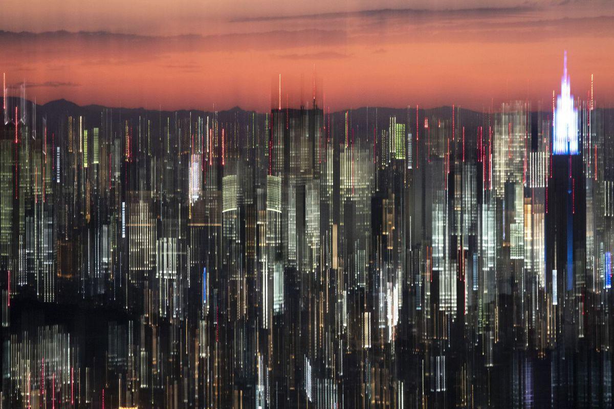 Japonsko, Tokio, mesto, mrakodrapy, domy, budovy, noc, svetlá