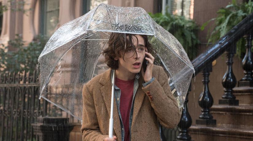 Herec Timothee Chalamet vo filme Daždivý deň v...