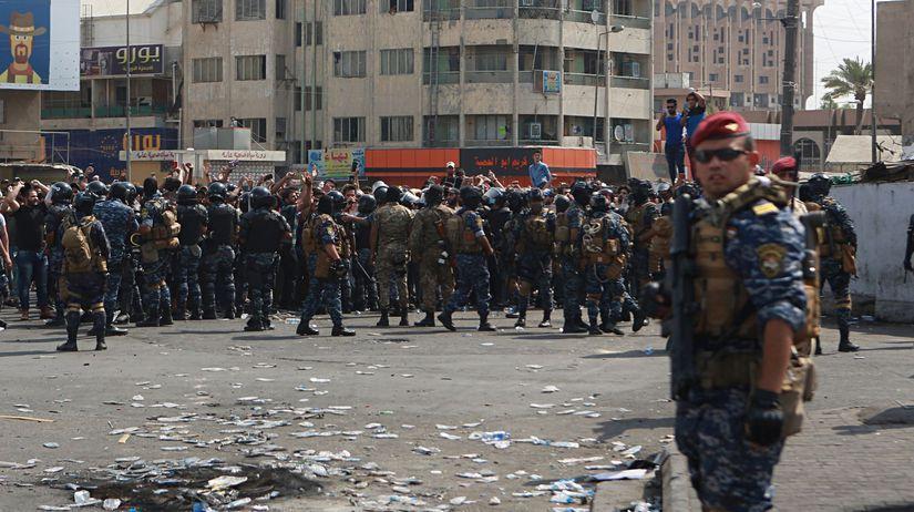 Irak Bagdad protest demonštrácia
