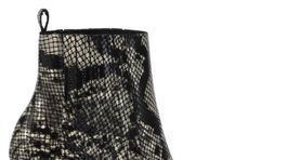 Členkové čižmy na hrubšom podpätku so zvieracím vzorom. Predáva CCC za 99,95 eura.