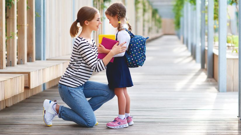 školák, prvák, dieťa, matka, školský rok