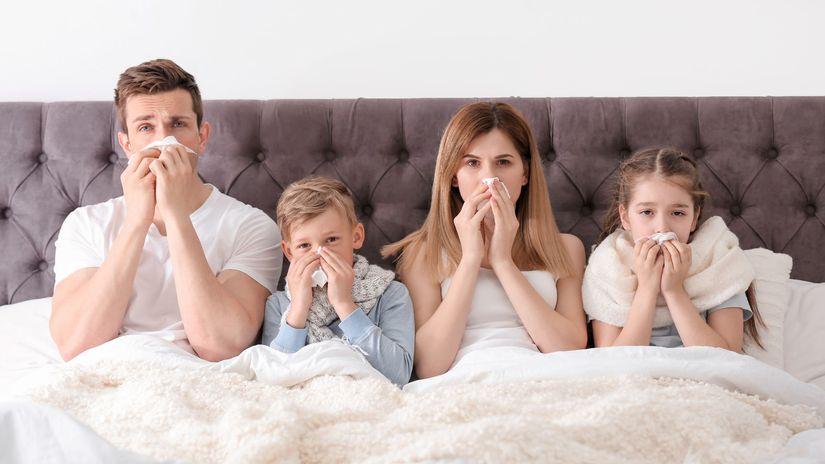 chrípka, prechladnutie, rodina, choroba
