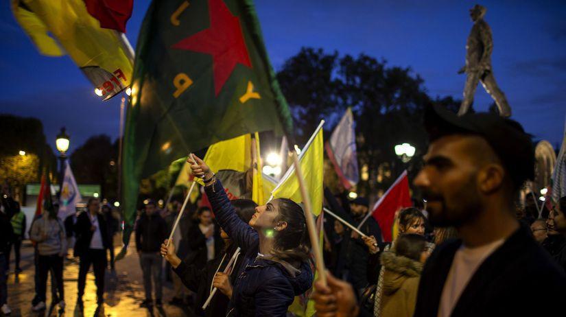 francúzsko, protest, sýria, kurdi,...