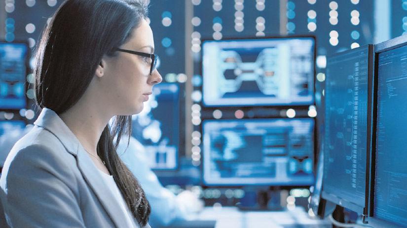 žena, počítač, programovanie