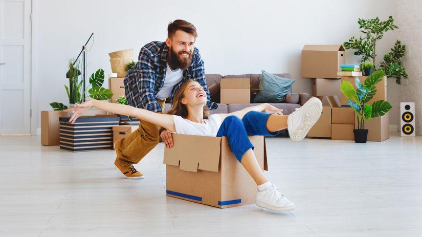 žena, muž, škatuľa, nové bývanie