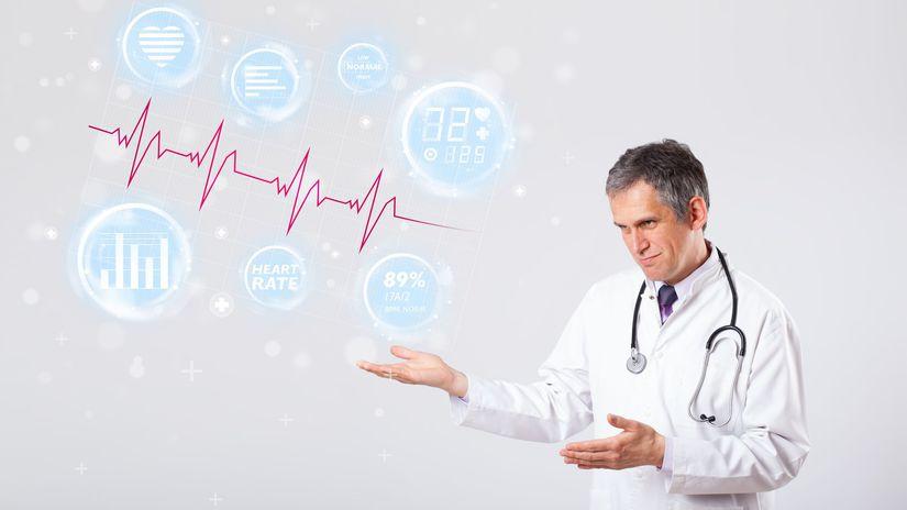 lekár, doktor, tlak, srdce, EKG, pulz