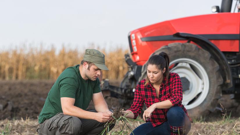 poľnohospodárstvo, žena, muž, traktor