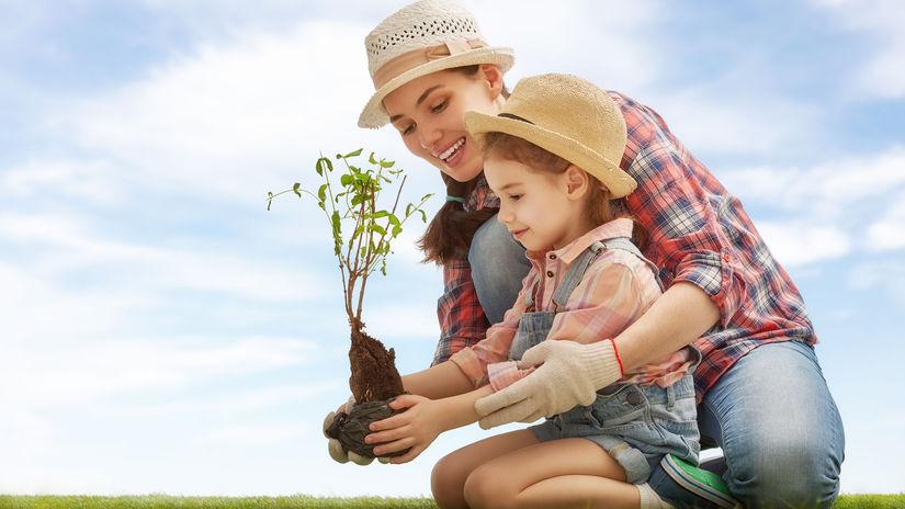 záhrada, žena, dieťa