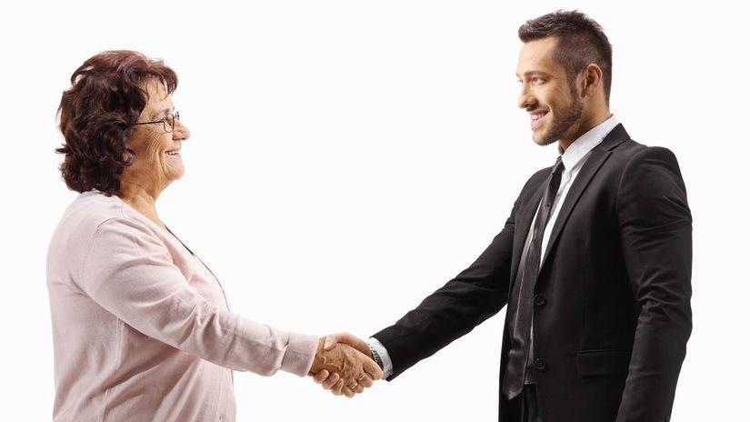 dohoda, penzistka, muž, oblek