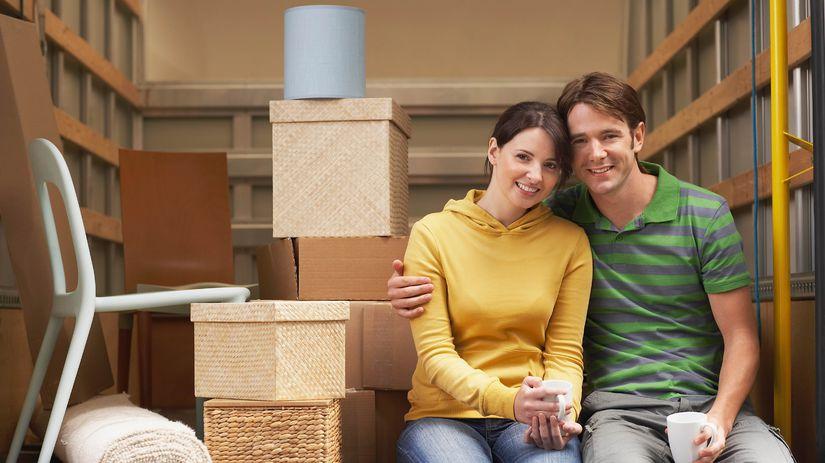 muž, žena, úsmev, bývanie
