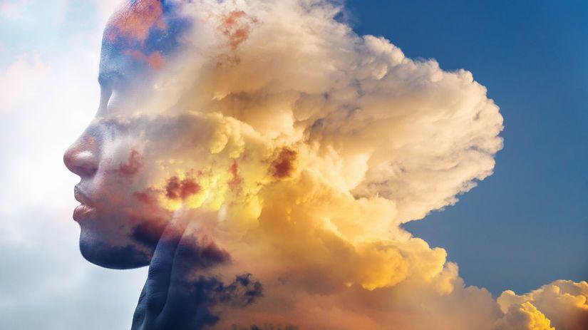 tvár, oblaky, obloha
