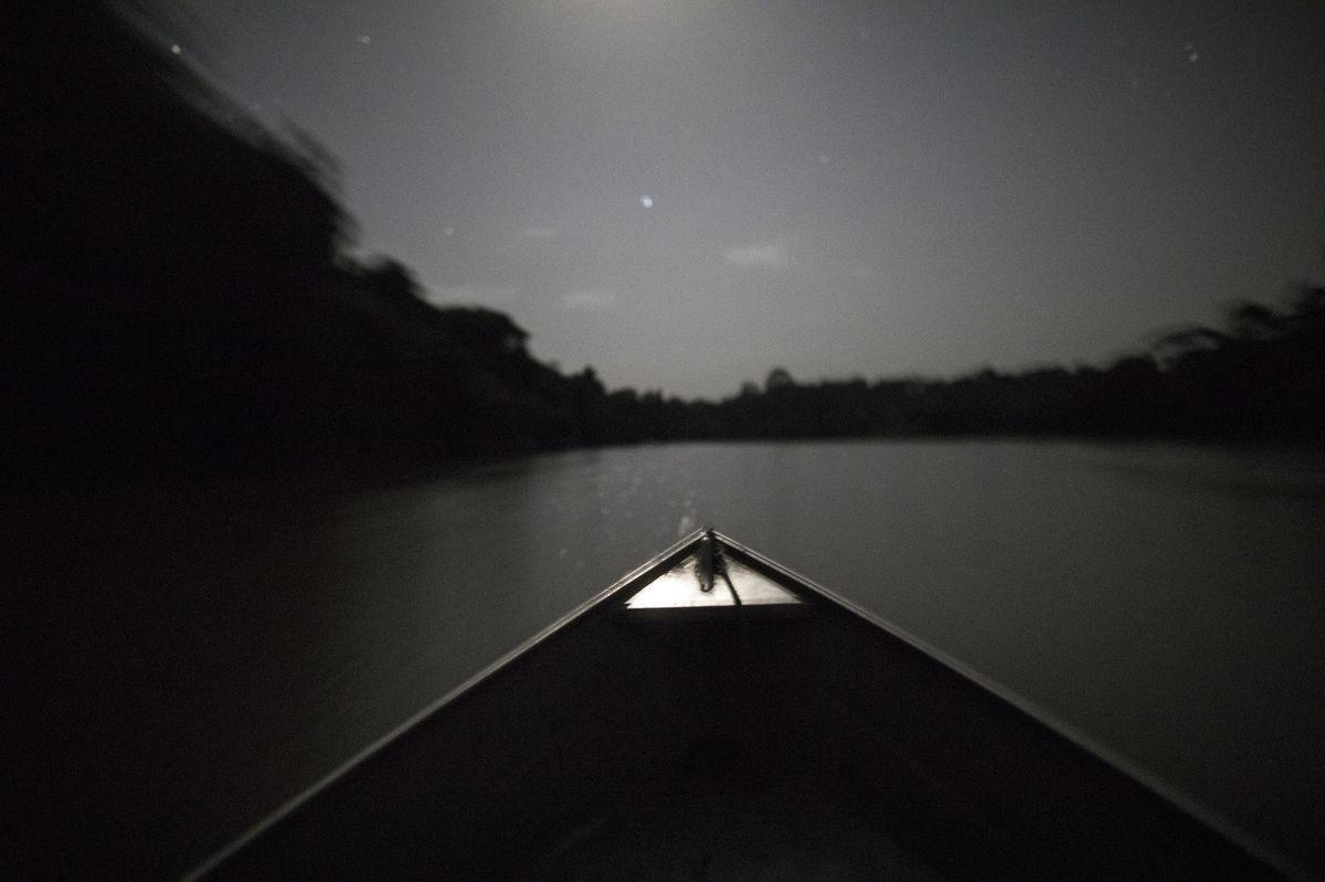 Brazília, Amazon, čln, loď, noc, Mesiac, rieka