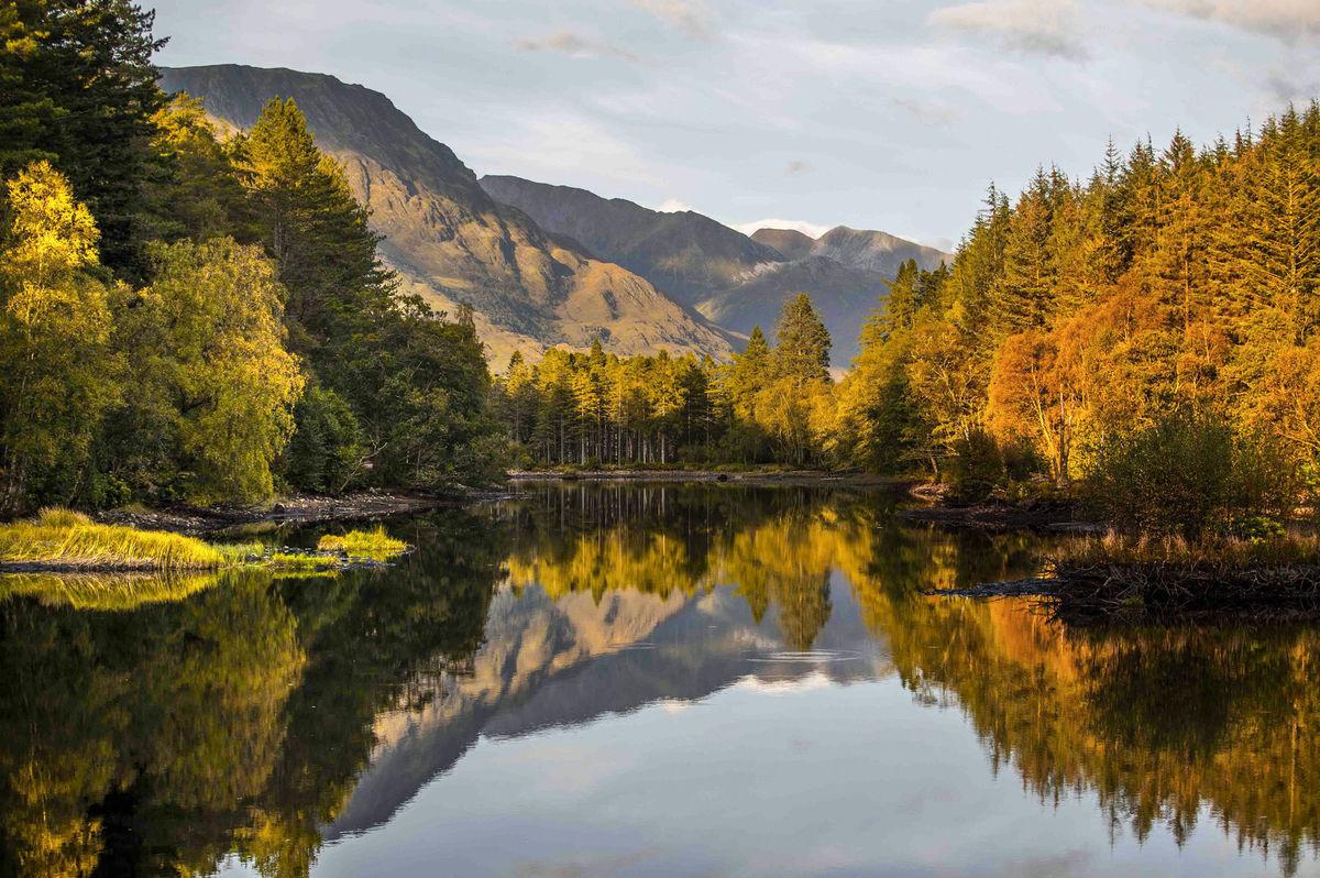 jazero, príroda, jeseň, hory, turistika