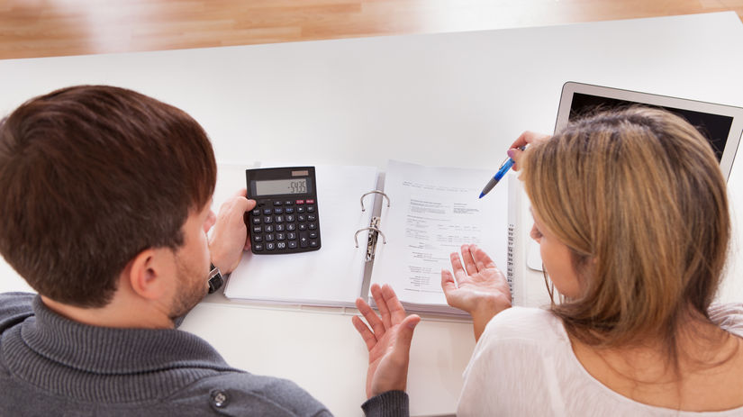 žena, muž, kalkulačka, počítanie