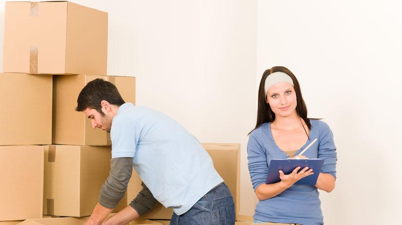 žena, muž, škatule, sťahovanie