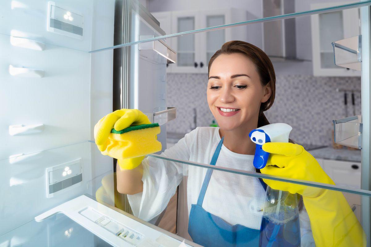 chladnička, umývanie, žena