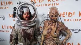 Manželia Tom Kaulitz a Heidi Klum v ich halloweenskych kostýmoch.