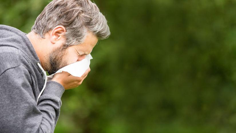 muž, kýchať, alergia