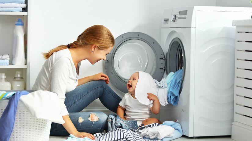 práčka, žena, dieťa