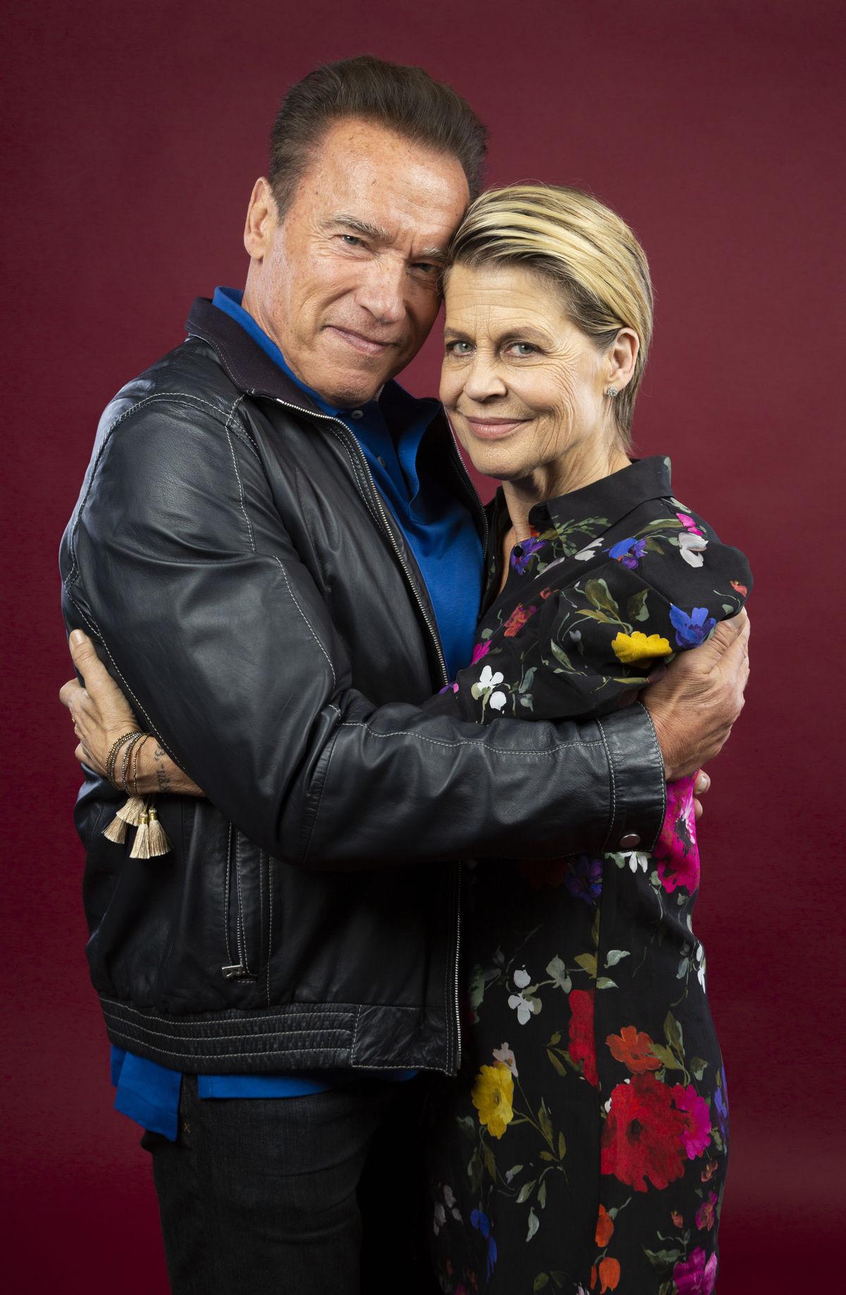 Hereckí kolegovia Arnold Schwarzenegger (vľavo) a Linda Hamilton spoločne predstavili nové pokračovanie filmu Terminátor.