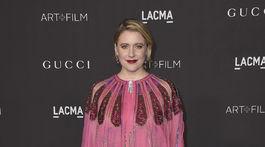Herečka Greta Gerwig prišla tiež na podujatie LACMA Art and Film Gala. V kreácii Gucci.