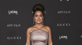 Herečka Salma Hayek Pinault na akcii LACMA Art and Film Gala v Los Angeles. V kreácii Gucci.