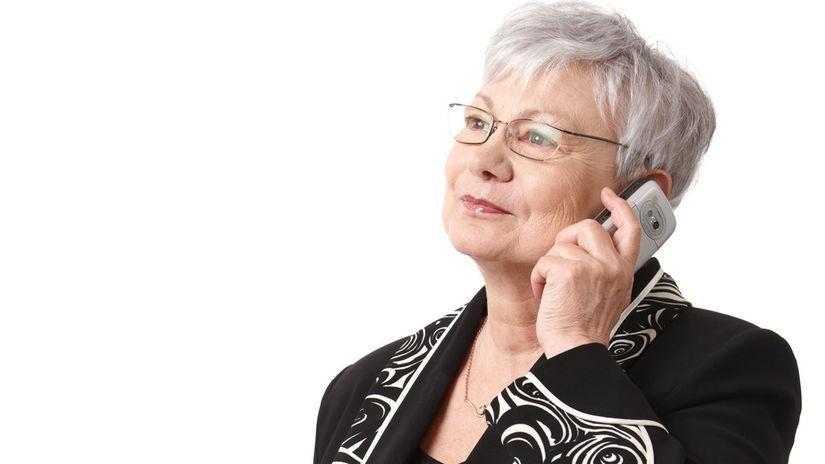 žena, senior, telefón