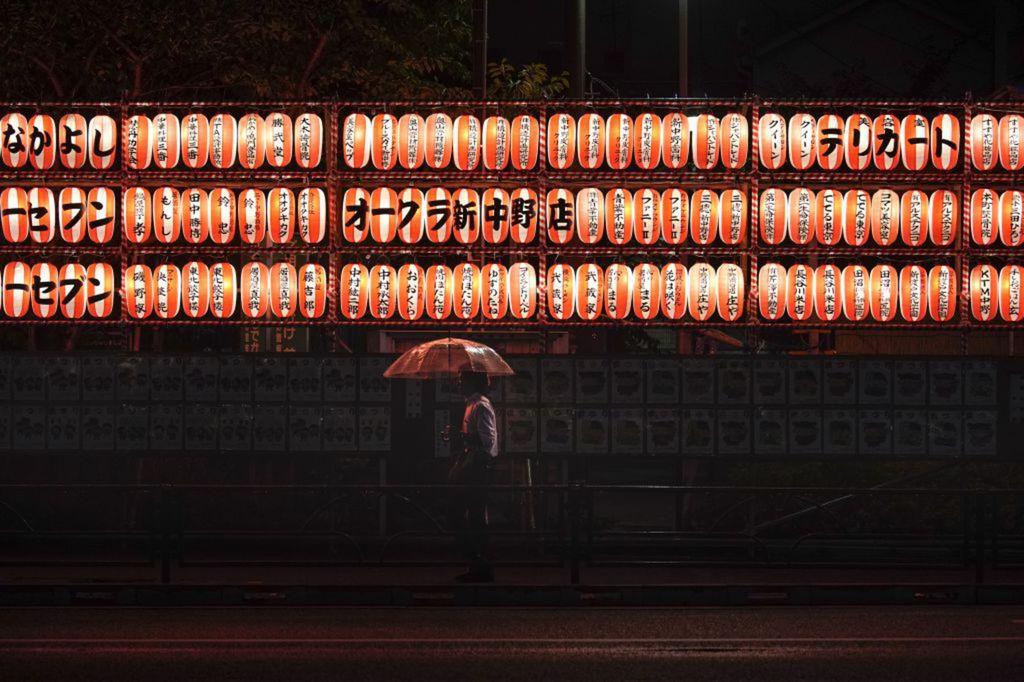 Japonsko, lampióny, dážď, dážnik