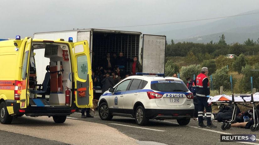 migranti, kamión