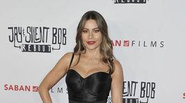 Herečka Sofia Vergara volila tmavé pančuchy aj ku koktejlovým šatám s odhalenými ramenami.